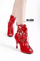 Женские сандалии kvoll fanshion women shoes flower sexy leather sandals wedge high heels platform Rhinestone hollow out sandal boot