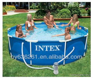 Taille de la famille hors sol pvc piscine intex famille for Piscine plastique