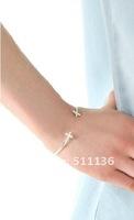 Ювелирное украшение с крестом 2012 Tiny Cross Bangle Cuff Double Cross Bracelet 3 color Available KK-JSQ113