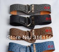 Женские ремни и Камербанды Ostrich grain cummerbund fashion decoration PU leather women's brief ultra wide belt 1pc/lot