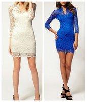 сексуальная! новые женщин v-образным вырезом 3/4 рукав slim fit платье bodycon кружева #0013
