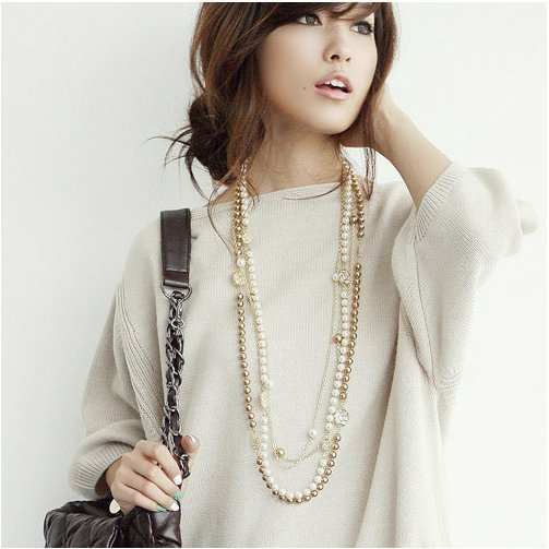 Free Shiooing,Min.order is $15 (mix order),Accessories Wholesale,Hollowed roses pearl necklace,long Sweater chain,black,E4003