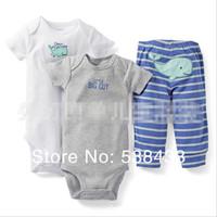 Комплект одежды для девочек new Retail 3pcs/set, Carter's Baby Boys and Girls Short & Long Sleeve bodysuit + Pant, Carters Baby Clothing