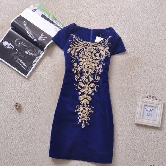 плюс размер женщин Весна зима платье vestidos вышивка печати короткий рукав Винтаж vestidos femininos случайных платье ph0516