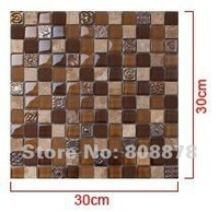 Popular Glass Mosaic aS002 ice crack crystal inlay background wall ceramic tile of toilet   2pcs/lot