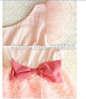 Платье для девочек Summer fashion One-shoulder Rose flower Party girl dress with big bowknot, Baby princess dress White, pink