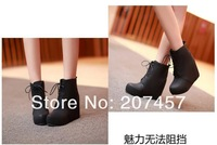 Женские ботинки size 34-39 Woman ankle boots 11cm wedge-heeled Shoes.lace-up high upper short boots lovely shoes lb1127