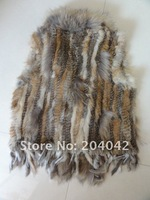 2013NEW  ladies' Knitted Rabbit Fur Vest for women With Raccoon Dog Fur Collar Gilet/waistcoat/Jacket Retail/wholesale/OEM/200