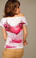 New Womens Fashion Colorful Skull Pattern Rhinestone Short Sleeve Tops T-shirt Blue/White N2805 Drop Shipping