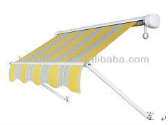 Retractable window awnings or drop arm awnings and shade blind