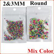 искусство украшения ногтей 2 мм & 3 мм круглые для ногтей стразами ногти падение 1000шт/УП 2шт/лот mix конфеты цвета