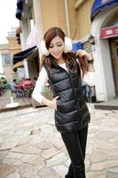 free shipping 3XL Autumn winter plus size Women vest PU with a hood vest leather jacket waistcoat slim down cotton vest women