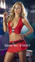 Free shipping New deep V neck sexy sheath mini Dress 2 peces solid color Wholesale and Retail