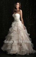 Свадебное платье Custom-made FD- 52 100% Guarantee Sweetheart Beaded Appliques Cascading rufflesBeaded Organza Wedding dresses
