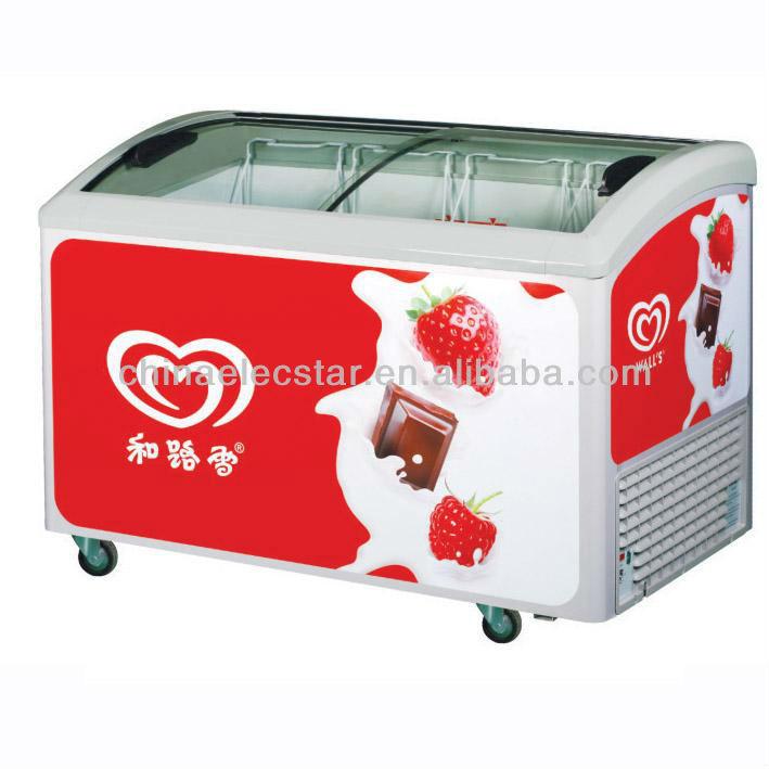 Popsicle Freezerice Cream Chest Freezercurved Glass Door Freezer
