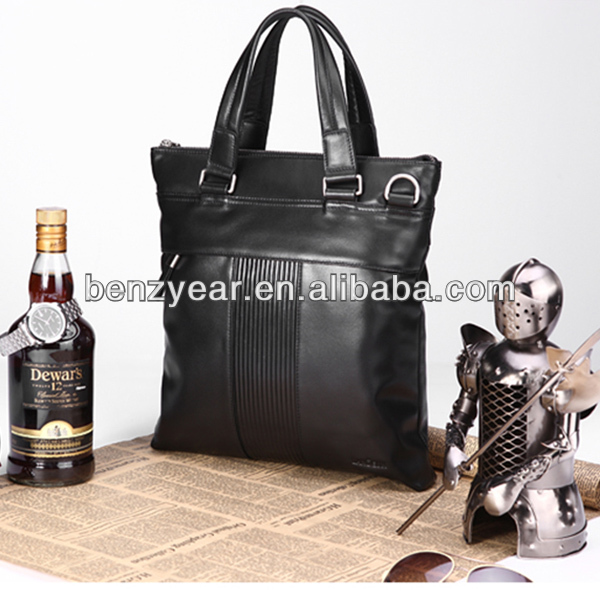 Made in China Genuine Leather Vertical Style Business Men Leather Shoulder Bag