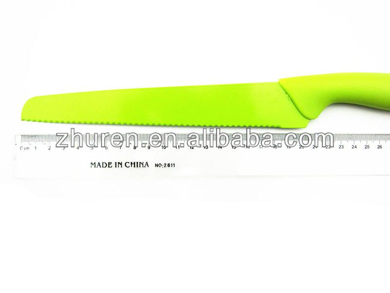 10 piece plastic handle nonstick kitchen knife set