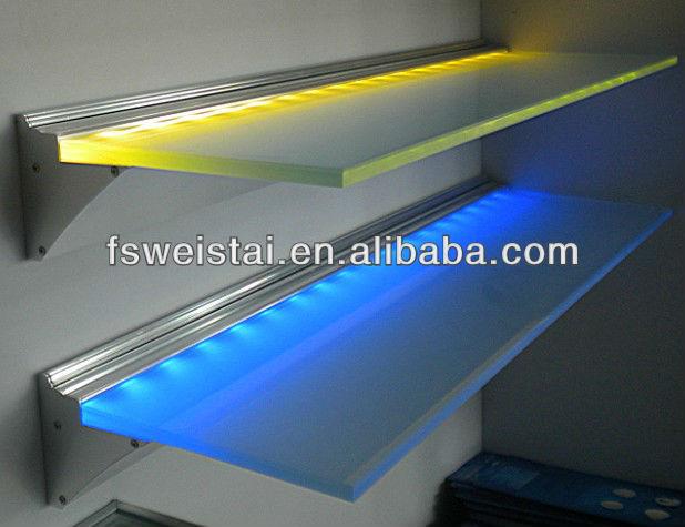 LED battery power acrylic glass Aluminum shelf cabinet/kitchen/wall light