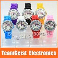 New Fashion Diamond crystal Hello kitty ladies Silicone Band Quartz Wrist Watch 7 colors wedding gift &Free Shipping