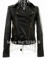 Women's brief paragraph cultivate one's morality skin coat jacket lapel rivet leather coat