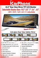 Система помощи при парковке 10.2 inch Car mirror with Back up Camera, Anti-glare panel Auto Rearview mirror monitor