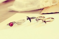 Кольцо Retro Personality Angel Wings Gem Butterfly Swallow Five Piece Set Ring R181