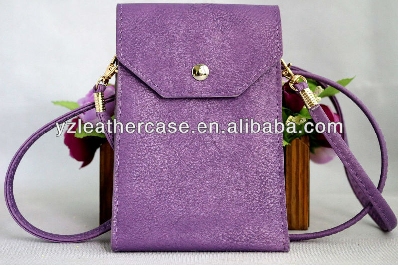 Shoulder strap leather phone bags, cell phone wallet bag