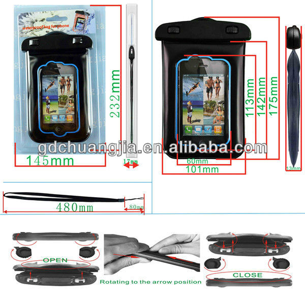 2014 Swimming PVC Mobile Phone WaterProof Bag for iphone