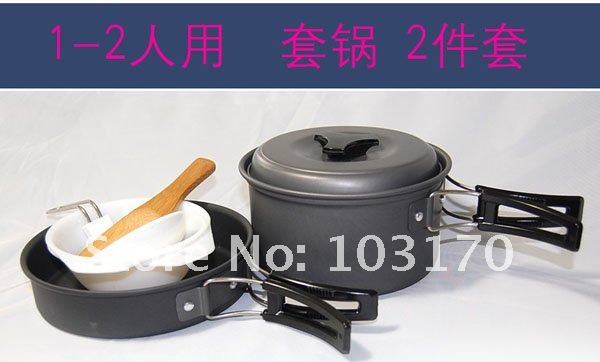 Free Shipping Anodised Aluminium Camping Outdoor picnic Cookset 1~2  persons Picnic Cookset