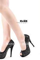 Туфли на высоком каблуке KVOLL high heel shoes wedding heels dress women heel Crystal diamondplatform size 34-39 factory price