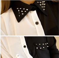 Женские блузки и Рубашки 2013 Fashion Black With White Patchwork Rivet Chiffon Shirts For Women Vintage Long-sleeve Blouses Leasure Tops Tees TS-036