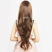 Long Body Wavy Women Full Wigs Iclined Bang Central Parting Light Brown 2/30#