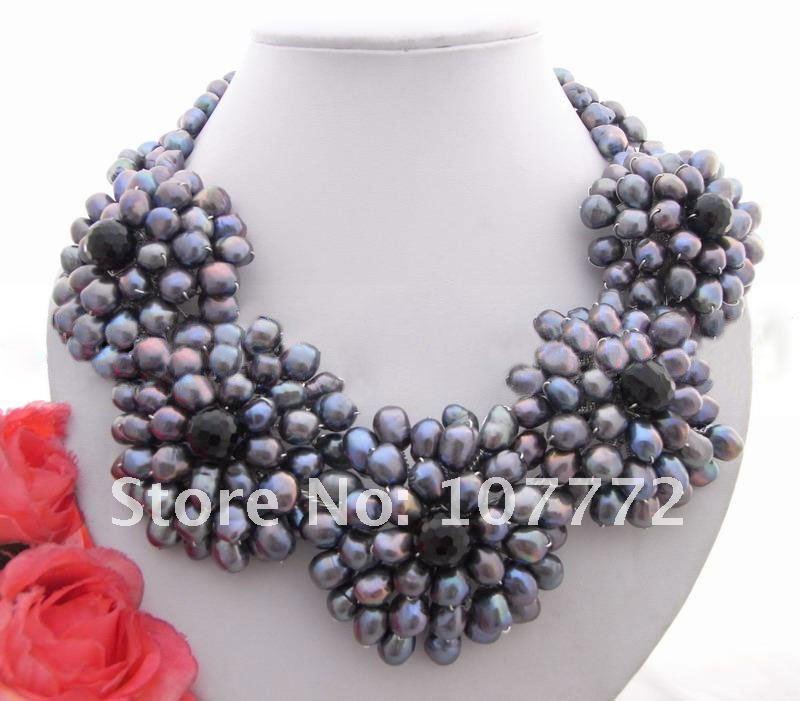 Очаровательная! Граненные агат и культурные цветок ожерелье + shippment