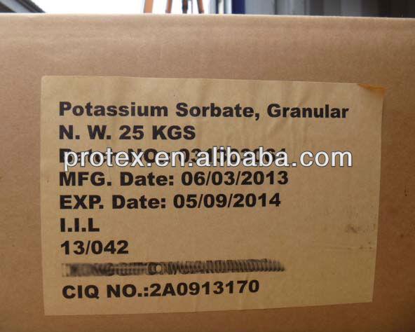 Sorbate de Potassium en Granulés / en Poudre