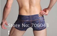 2012 new hot-selling Shorts wholesale and retail men's underwear imitation jeans 96G 95% fiber, 5% Spandex