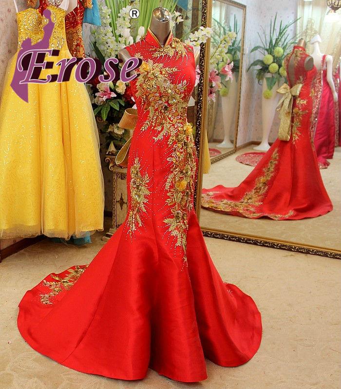 L mermaid high collar red and yellow wedding dress sweep train