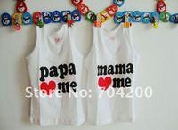 Футболка для девочки 24pcs/lot- Baby cotton rompers/Girl's T-Shirt/papa love me&mama love me Cotton T-Shirt
