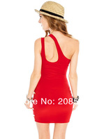 3 цвета, новые сексуальные твердых платье женщины мода платья мини-партии clubwear одно плечо 409