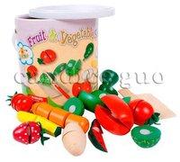 Детский набор игрушек для кухни candice guo! Hot sale educational toy wooden play house fruit vegetable set cut 1 barrel