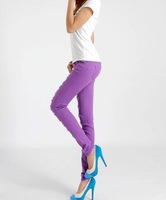 Женские джинсы 2012, new women fashion beggars candy colored pencil hole feet pants. woman jeans