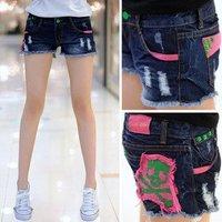 Женские шорты 2012 summer new patch stream fringe frayed stitching Slim denim shorts 923