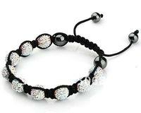 Newest Black Macrame String,Crystal AB Crystal Pave Ball Beads, Adjustable Rhinestone Shamballa Bracelets With Hematite Jewelry