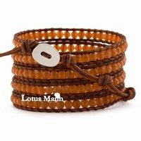 Ювелирное изделие 2013 CL Lotusmann Red Adventurine Wrap Bracelet on Natural Brown Leather