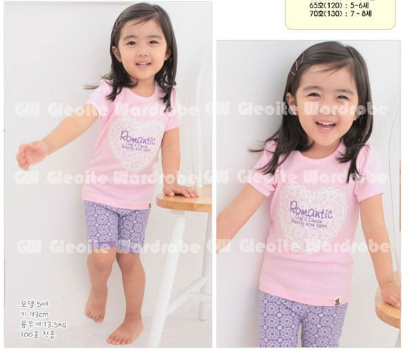 free shipping girl's short sleeve Pajamas set, 12set/lot (clothes+pants),sleepwear ,night wear/night gown 3-12 years