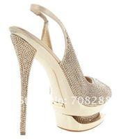 Женские сандалии Brand Newest platforms Crystal dress shoe 12CM Peep-Toe sexy high heels shoes ladies Wedding shoes sandals
