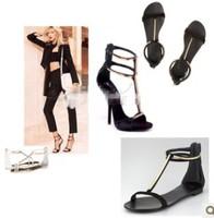 Женские сандалии EU 42 black real leather metal double strap ladies sandals wedding patry dress shoes
