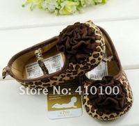 Пинетки S012 Very Cute children's shoe brown leopard dot Baby Shoes color leopard Flower soft sole baby shoe Girls Warm