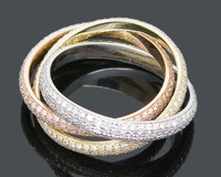 Кольцо Jewelry Pave 18Kt 3 Color Gold 3.00CT full Cut Diamond Bands Ring band side 4mm, Amazing, Fancy