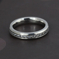 Full cubic zirconia rings for women weddings & events jewelry Top stainless steel CZ ring accessories