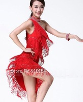 Wholesale,Multiple Layers Fringe Sequins With Necklace and Wrist Strap Latin Dance Skirts Dress,Performance/Stage Wear